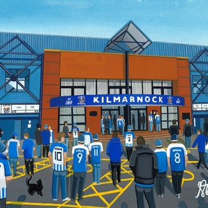 Rugby Park Stadium /'Going to the Match/' Fine Art 1000pc Jigsaw Puzzle Kilmarnock Football Club