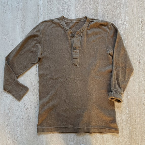 Vintage Mens Military Thermal Henley