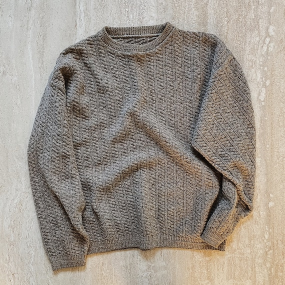 Vintage Mens Cable Knit Crewneck Pullover