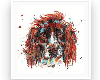 cute dog print pet liss gifts funny dog decor dog lover springer spaniel gift Springer spaniel art print pet portrait spaniel sprawl