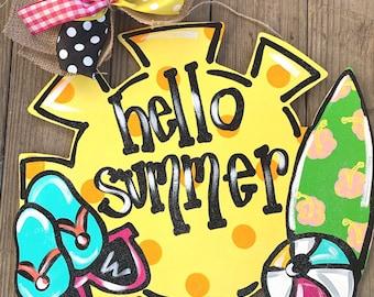Fun Summer sun door hanger with glitter and bow