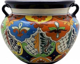 Maceta Decorativa con plato estilo Mexicano de Talavera. Talavera Mexican Pottery Ceramic Flower Pot /& Matching Drip Dish Set