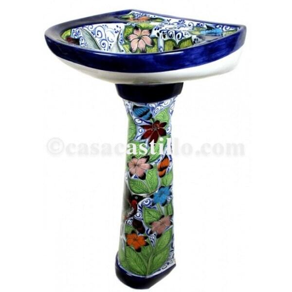 Mexican Talavera Pedestal Sink Handcrafted Ceramic Colibri1 for sale