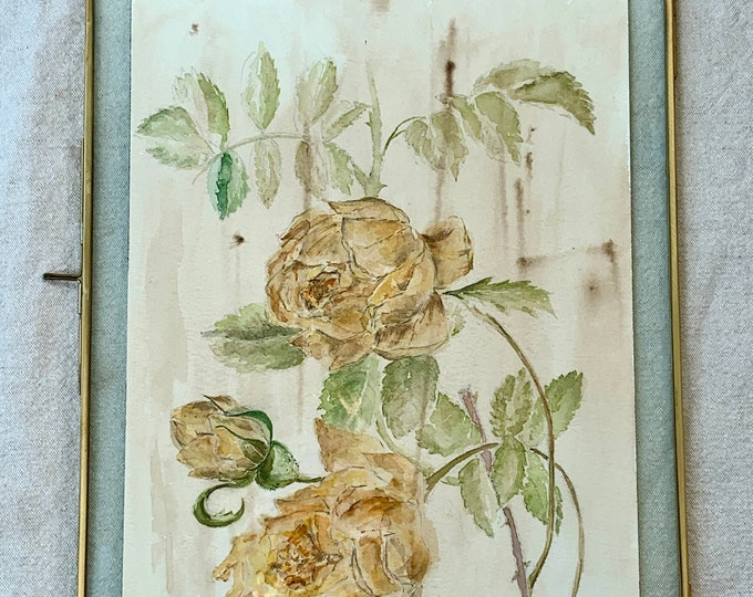 The Golden Rose - Authentic Watercolor in its brass frame