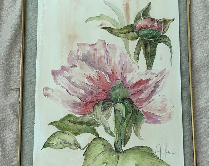 The Peony - Authentic Watercolor in its brass frame