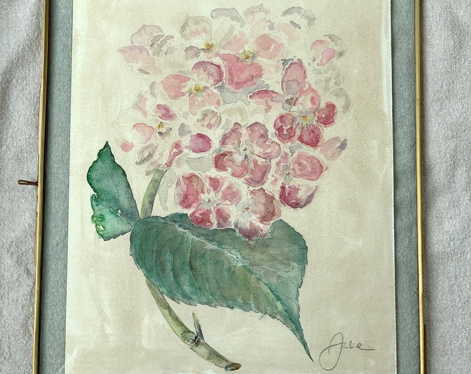 The Hortensia - Authentic watercolor in its brass frame