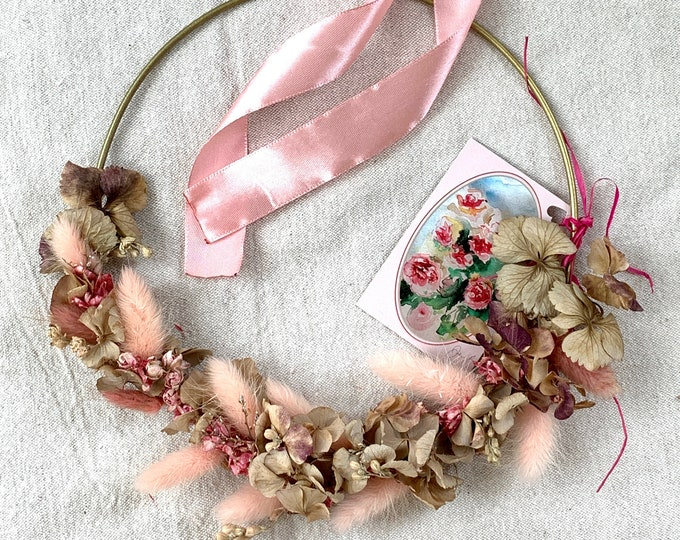 Lagurus, Pink Ribbon - Dry Flower Crown