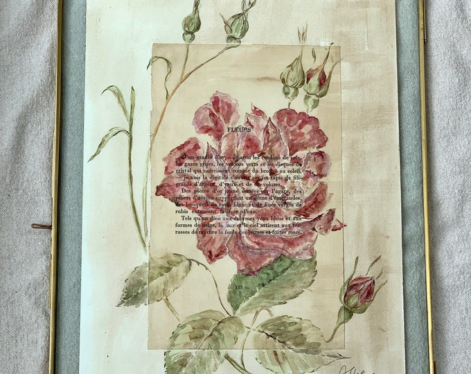 The Rose of Bengal - Authentic Watercolor - Poem by Arthur Rimbaud in its brass frame