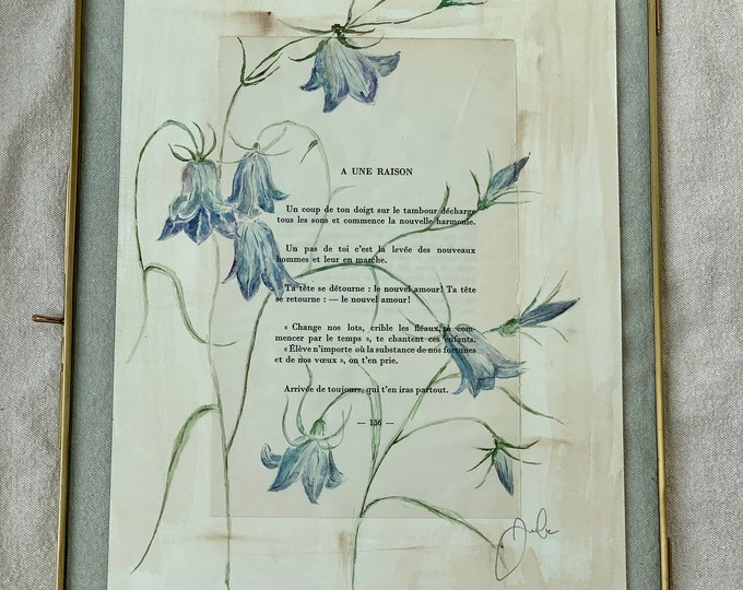 Les Campanules - Authentic watercolor - poem by Arthur Rimbaud in its brass frame
