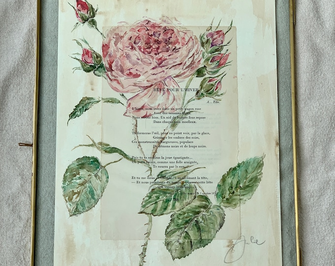 La Rose Centifolia - Authentic Watercolor - poem by Arthur Rimbaud in its brass frame