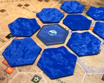 High quality ocean tiles - Terraforming Mars - add on for a board game - set consists of 9 pieces - deep blue color