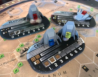Set of 8 space ships to be used with Terraforming Mars Colonies - designed for two orientations and holding players' cubes
