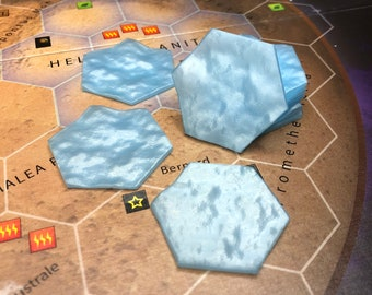 High quality ocean tiles - Terraforming Mars - add on for a board game - set consists of 9 pieces - light blue color