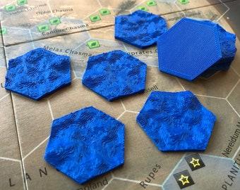 Set of 9 ocean tiles for Terraforming Mars board game