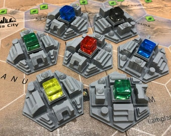 Set of 10 city tiles for Terraforming Mars board game - buy 10, 20 or 30 cities - tile project #1