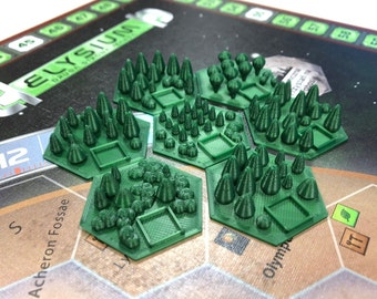 Set of 7 greenery tiles, forests for Terraforming Mars board game - order 7, 14, 21 or more!