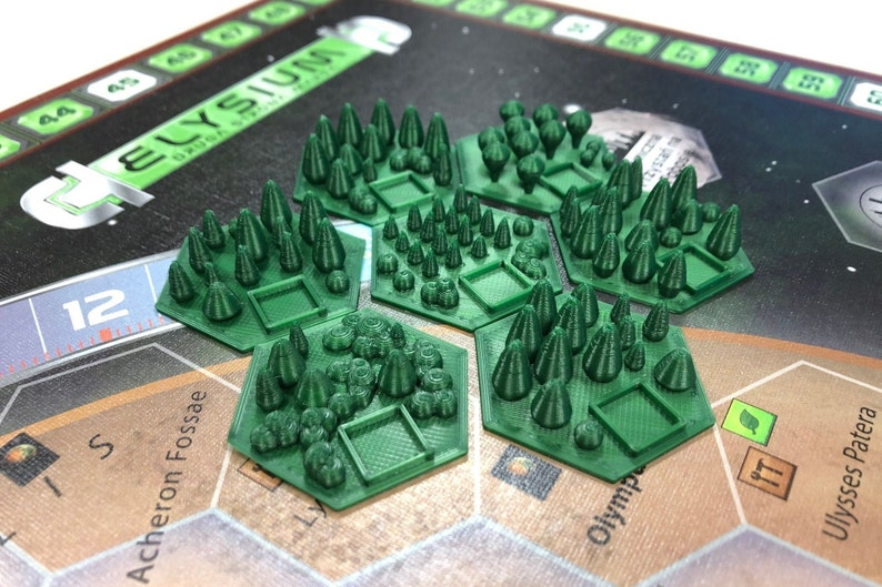 Set of 7 greenery tiles forests for Terraforming Mars board image 0
