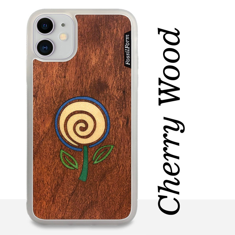 Personalized iPhone Samsung Pixel Case Wood Resin Cellphone Case FossilForm Minimalist Flower Real Wood Phone Case White