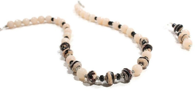 Neutral Blush Color Ladies Gift Gemstone Beaded Necklace Everyday Necklace Neutral Tone Jade Necklace Custom Design