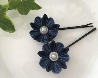 Tsumami Kanzashi Flower Hairpin 2-Set - Handmade