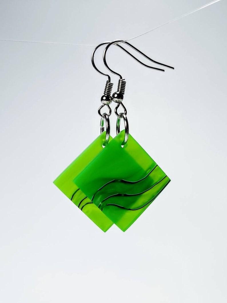 Green Swirl Square Acrylic Dangled Earrings