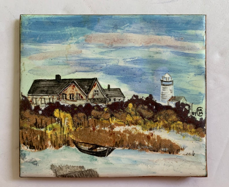 Painting of New England Shoreline Lighthouse Original Enamel Miniature