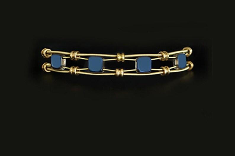 Guitar String Bracelet wBlue tile beads Unique Bracelet Women/'s bracelet Bridesmaid Gift Handmade BirthdayAnniversary Musicians Gift