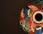 Japanese Antique porcelain small vase,Sake bottle hand painting flowers and triangular patterns on red base quot IMARI quot H2.6 3.3in