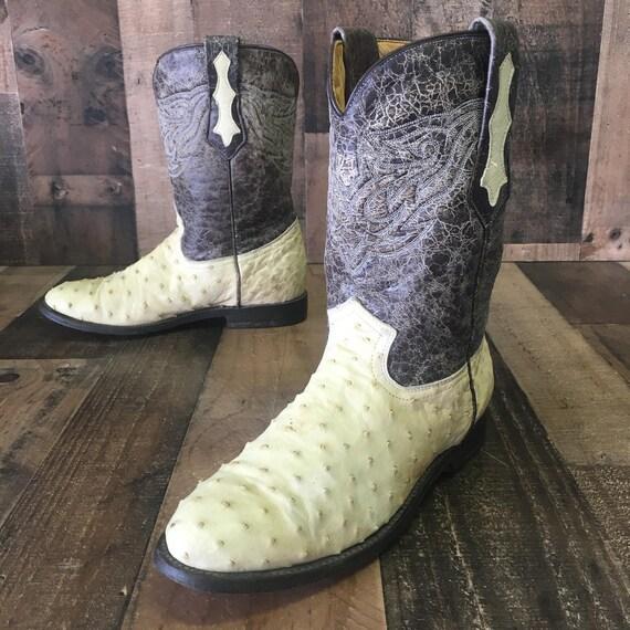 Cuadra Full Quill Ostrich Cowboy Boots Mens 8.5