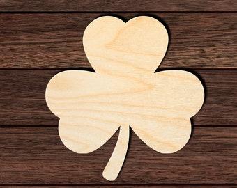 Natural Wood Shamrock Cut Out Laser Cut Unfinished Wooden Shamrock Shape DIY Craft Shape Shamrock Wood Cutout Wood Fall Cutout
