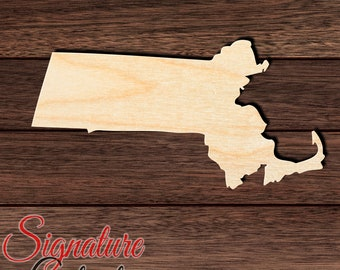 Massachusetts State Shape Variety of Sizes Unfinished Wood Craft Cut Outs Artistic Craft Supply
