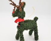 Topiary Rudolph Red Nose Reindeer Christmas Tree Ornament Evergreen Faux Fir