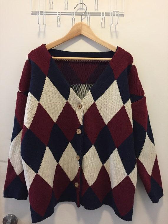 Unisex Argyle Checkered Cardigan