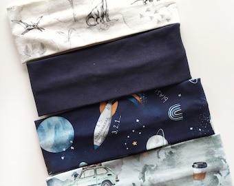 Headband Baby Boy  Toddler Hair Accessories  Kids Headbands OEKO-TEX Cotton Jersey in indigo blue grey marl  khaki