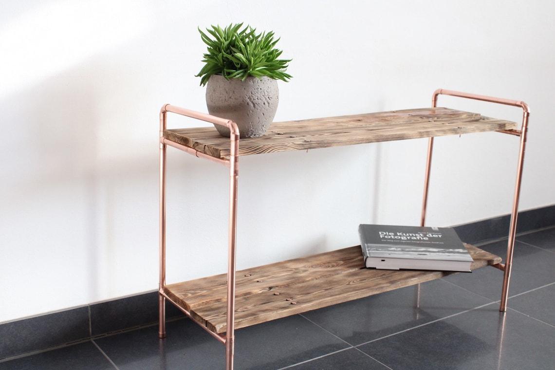 Sideboard made of copper tube/ shoe rack/ Vintage shelf/ Industrial shelf/ chest of drawers/ Living room/ Hallway/ Gift