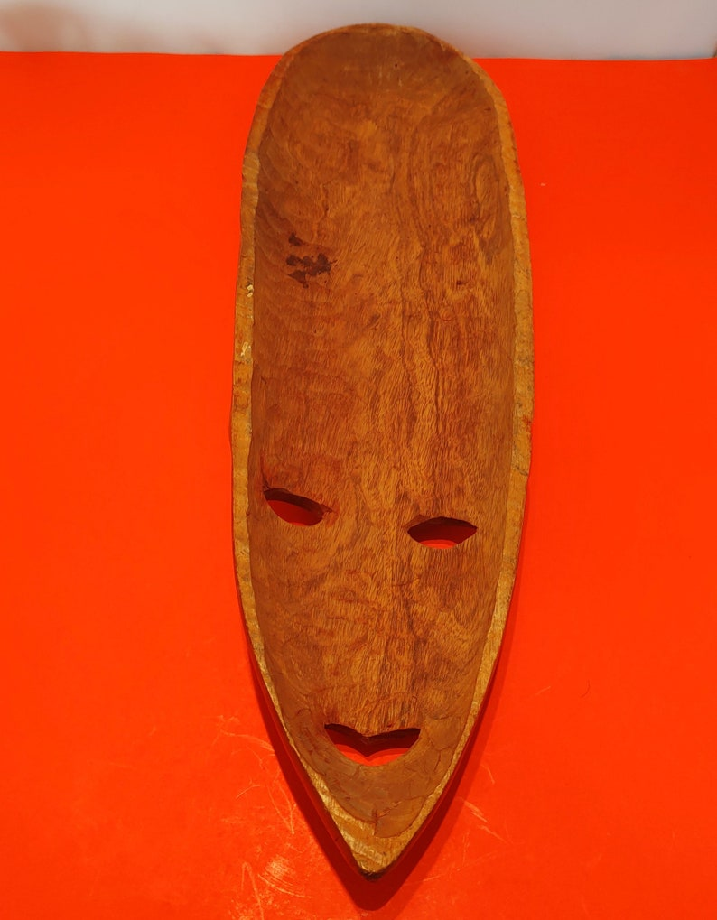 Wooden African Mask Wall Hanging From St Lucia