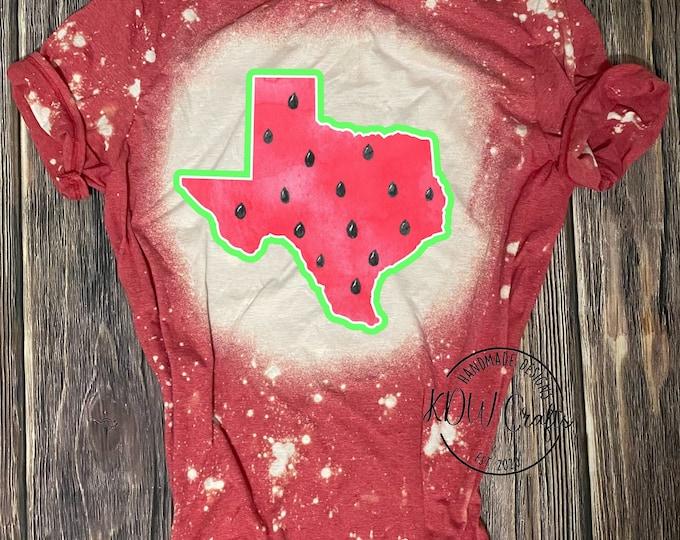 Texas Tee Texas T-shirt Watermelon Texas shirt watermelon bleached Texas shirt bleached Texas tee