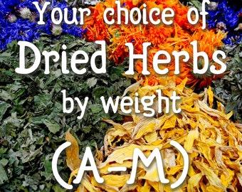 Your choice of dried herbs & resins (A through M)