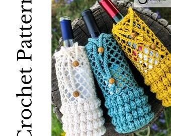 Boho Wine Tote Crochet Pattern- Crochet Cozy Pattern- Crochet Wine Bottle Pattern- Crochet Pattern- Wine Cozy- Wine Bottle Cozy