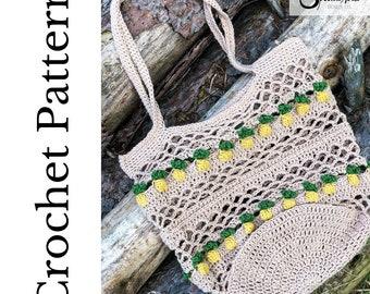 Crochet Bag Pattern Summer Crochet Pattern Crochet Market Tote Crochet Beach Bag Crochet Pineapple Boho Crochet Pattern