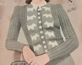 """1930s/1940s Knitting Pattern for a Cardigan With Scotty Dogs, 4 ply 34-35"""" Bust"""