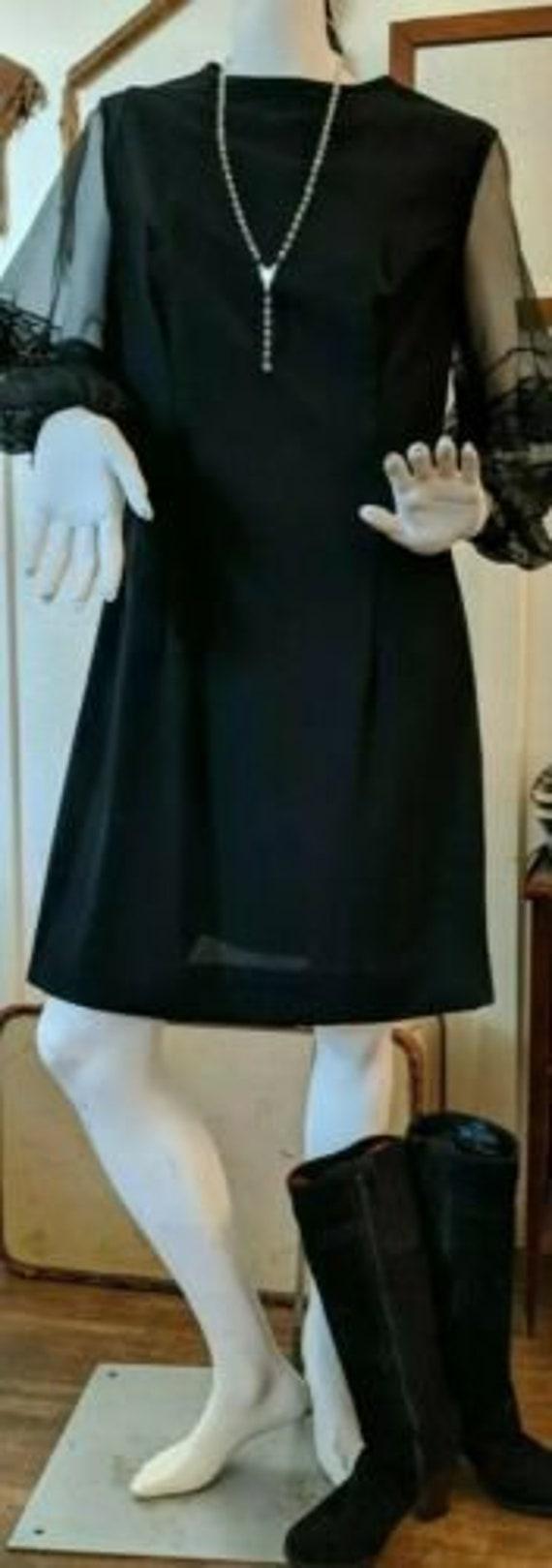 Vintage 1960s Aldens Black Cocktail Dress with Chi