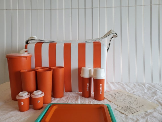 Vintage Tupperware Picnic Cooler Set 1970s Orange