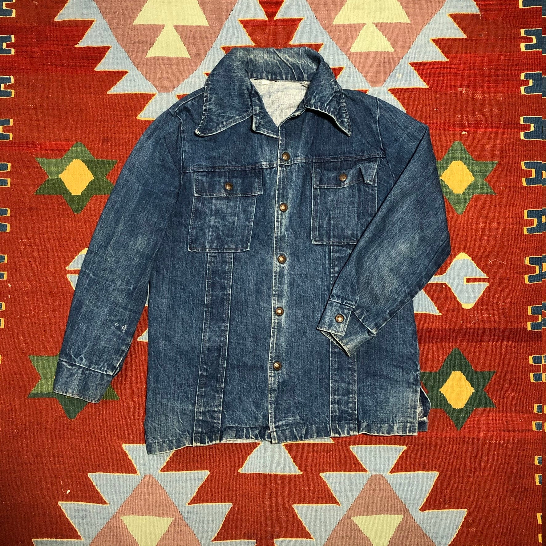 1970s Mens Shirt Styles – Vintage 70s Shirts for Guys Vintage 70S Denim Jacket Indigo Jc Penney Size 40 Mens Medium Blue Chore Coat $0.00 AT vintagedancer.com