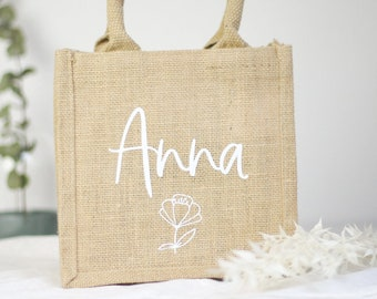Mini jute bag with desired name customizable, gift idea birthday