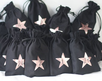 Advent calendar made of fabric for filling, in black, various designs, 12 x 20 cm