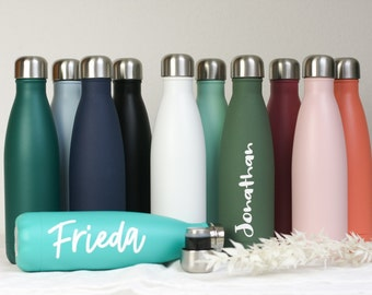 500 ml thermos bottle customizable, fair+socially made, drinking bottle in many colors, 18/8 stainless steel, gift idea