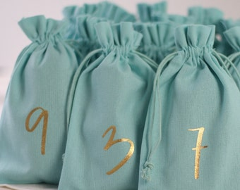 Advent calendar made of fabric for filling, in turquoise, various designs, 12 x 20 cm