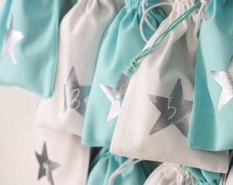 Advent calendar made of fabric for filling, in turquoise-white, various designs, 12 x 20 cm