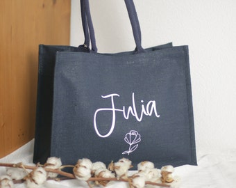 Jute shopper with name personalized, market bag with sweet flower, colors to choose from